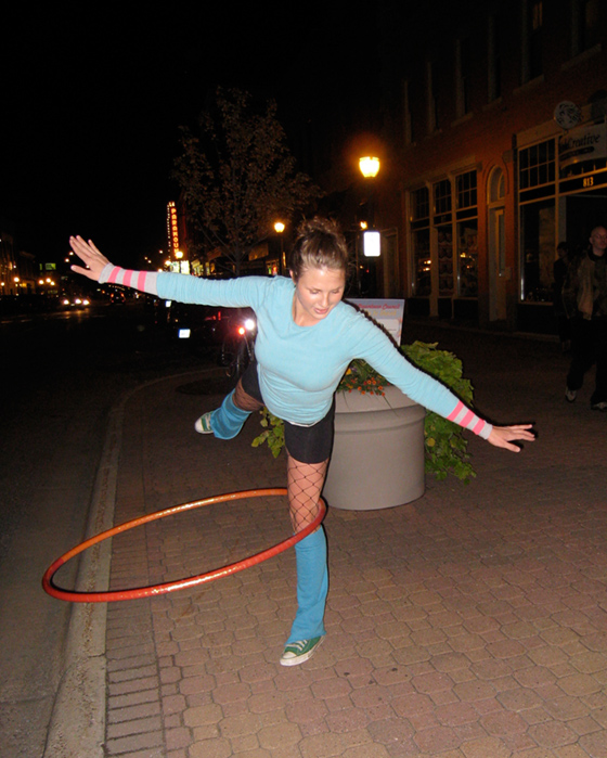 One-legged hula hooping