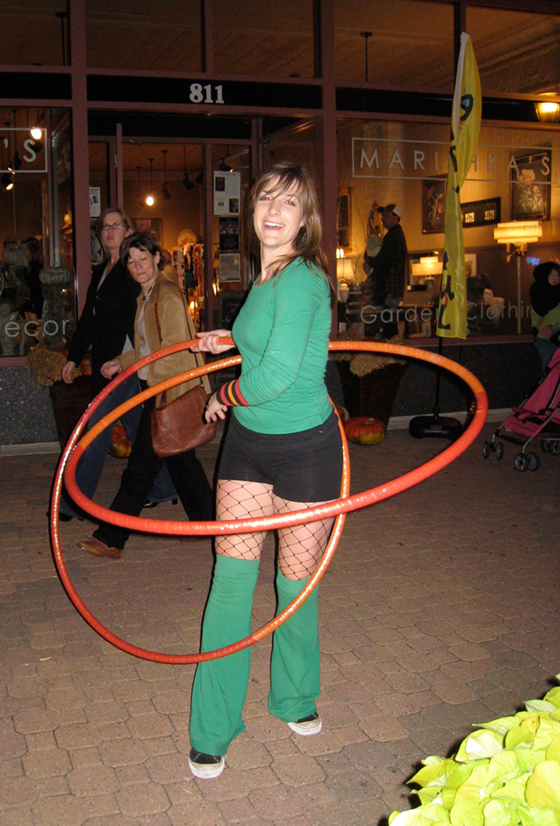 Two hula hoops