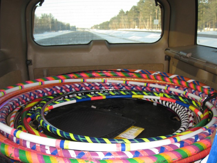 hula hoops in the back of our car