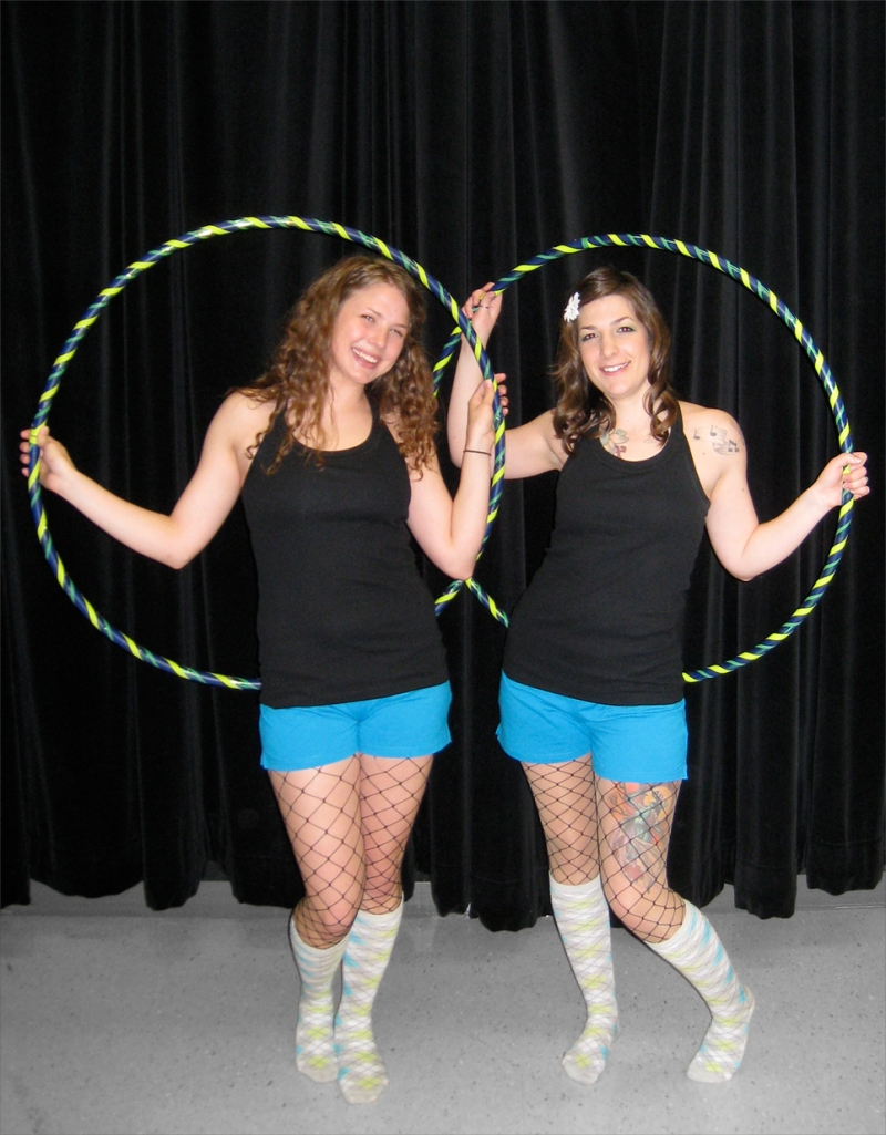 Hula hoopers in costume for talent show