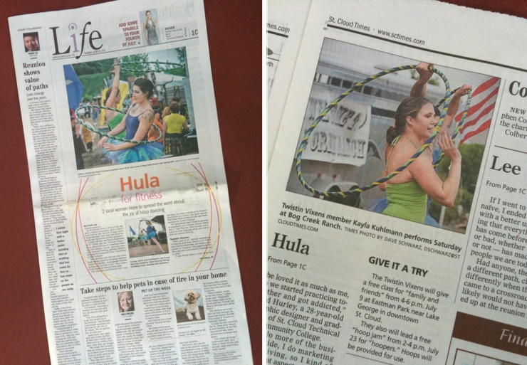 Twistin Vixens Hooping in the St. Cloud Times Newspaper