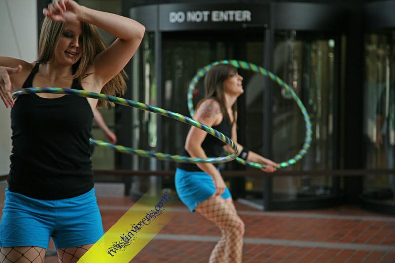 Hula Hooping Duo Twistin Vixens