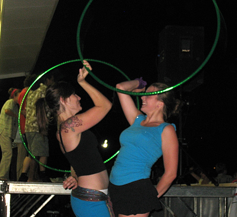 Twistin Vixens two person warrior with hoops