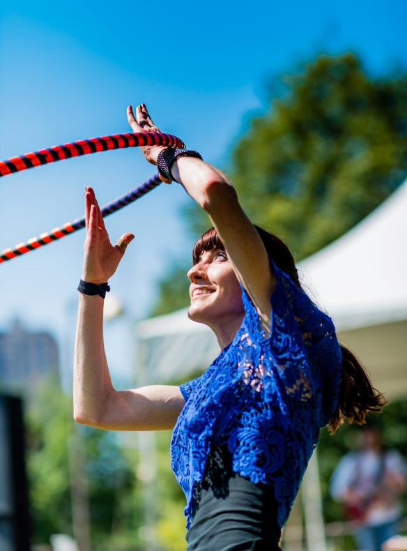 Hoop dancer in world record hooping event attempt