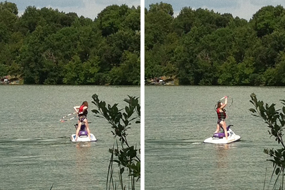 Girl hoop dancing on jet ski