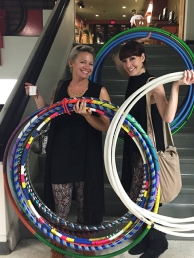 Nikki and Amy with lots of hula hoops